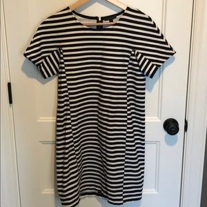 Jcrew black and white striped tee dress